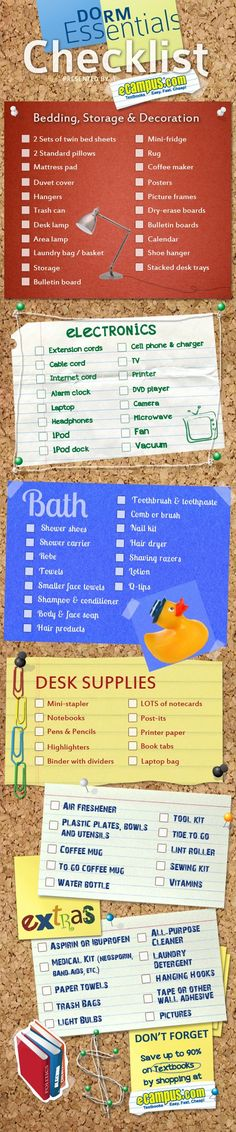 Dorm Essentials Checklist -- Some of this is too much, hah.