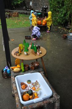 Autumn sensory play, small world and fine motor stations - Stumping in the Mud ≈≈