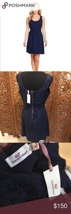Vineyard Vines Scallop Fit and Flare Navy Dress Beautiful. 100% linen outside. 100% Cotton lined inside. Gold colored zipper in back. NWT! 1st photo Cred: VV Vineyard Vines Dresses