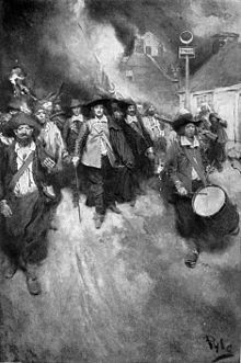 Bacon's Rebellion was an uprising in 1676 in the Virginia Colony in North America.  It was the first rebellion in the American colonies in which discontented frontiersmen took part. About a thousand Virginians rose up in arms against the rule of Virginia Governor William Berkeley. This led to attacks on Native Americans, chasing Berkeley from Jamestown, Virginia, and ultimately torching the capital.