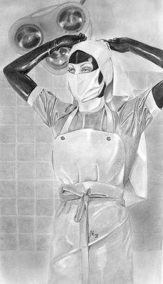 Surgery Nurse - Fetish Art and Cartoons - Latex Uniform, Latex Suit, Fetish Fashion, Latex Fashion, Female Surgeon, Plastic Aprons, Pvc Apron, Mode Latex, Beautiful Nurse