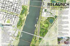 Finalist Designs revealed for Gateway Arch Competition  City River Arch 2015 #plan #render #landscapearchitecture