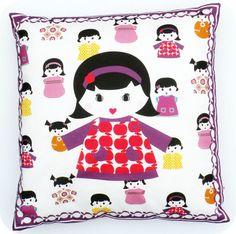Cushion Retro doll's by DigMig on Etsy, €20.95