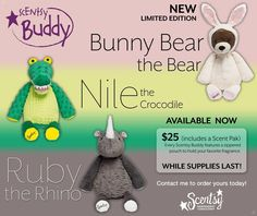 FOR A LIMITED TIME ONLY ~ Bunny Bear, Nile the Crocodile & Ruby the Rhino Scentsy Buddies - Each comes with YOUR CHOICE of Scent Pak ORDER ONLINE ~ SHIPS DIRECT https://spollreisz.scentsy.us