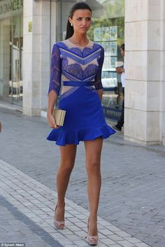 Shes got the blues: The Only Way Is Essex star Lucy Mecklenburgh heads to the Tibu nightclub in Puerto Banus, Spain on Friday evening