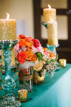 gold teal and coral tablescape