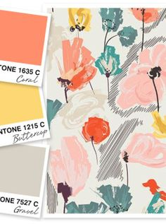 ❤ =^..^= ❤    Loving this coral, buttercup yellow and gravel gray color palette.