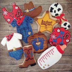 Cowboy Baby Shower! #babyshowercookies #littlemissmoffatcookies Distintivos Baby Shower, Cowboy Baby Shower, Baby Shower Gender Reveal, Baby Shower Themes, Shower Ideas, Cowgirl Baby Showers, Baby Gender, Rodeo Birthday, Cowboy Birthday Party