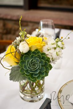 Dahlia yellow green gray centerpiece