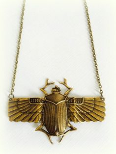 Egyptian Scarab Necklace by DashkaDesigns on Etsy