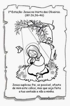 Jardim da Boa Nova: Via Sacra Holy Week, Comics, How To Make, Jesus Cristo, Kids Bible Activities, History Of Easter, Sunday School Kids, Catechism, 7 Sacraments