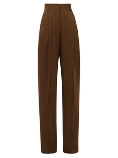 Petar Petrov Hector Tailored Wool-blend Trousers In Khaki Brown Anime Inspired Outfits, Androgynous Women, Trouser Outfits, Lookbook, Aesthetic Fashion, Fashion Games, Trousers Women, Shorts, Black Cotton