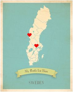 Children Inspire Design My Roots Sweden Personalized Map (Canvas)