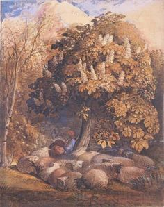 """""""Shepherdess Under a Chestnut Tree"""" by Samuel Palmer, 1832 (Watercolour on board)"""
