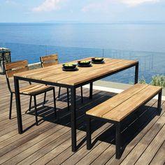 Gartentisch aus Akazienholz und Metall, B 180 cm Square | Maisons du Monde