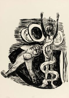 Lithograph by Max Beckmann (1884-1950), 1946, The Fall of Man, plate 14 from Day and Dream.