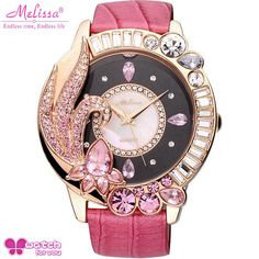 Big shine crystal flower wristwatch women dress rhinestone watches fashion casual quartz watch Luxury brand Melissa 11603 clock