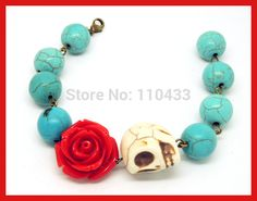 sugar skull mexican day of the dead bracelet, turquoise red rose flower classic skull BF152(China (Mainland))