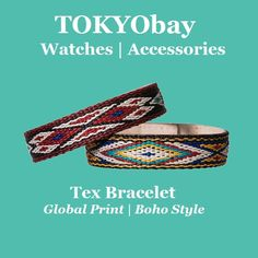 Tex | TOKYObay Bracelet Featuring A Woven Global Pattern Print Backed in Leather. Boho Chic Accessory