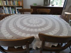 Round Crochet Tablecloth by LouisaAmeliaJane on Etsy, $39.50