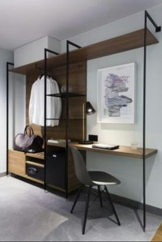 Puro hotel. Integrated desk and open closet #wardrobe #desk