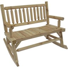 This cedar rocking Adirondack loveseat is a great place to sit and enjoy life. With its contoured seats and smooth rocking action, you'll b. Backyard Furniture, Log Furniture, Living Furniture, Outdoor Furniture, Outdoor Decor, Portable Sheds, Off Grid Cabin, Living Etc, Woodworking Organization