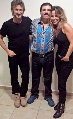 Sean Penn and del Castillo pose with El Chapo.