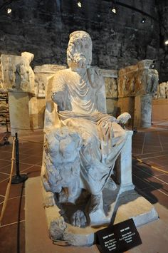 Statue of Hades, the ancient Greek chthonic god of the underworld. From Hierapolis theatre, the end of the 2nd century AD, now in Hierapolis Museum.