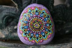 Hand Painted Mandala Stone Purple Colorful Small Detailed