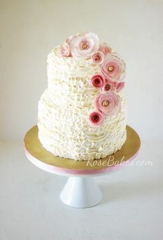 Ruffles Cake with Pink & Gold Wafer Paper Flowers by RoseBakes