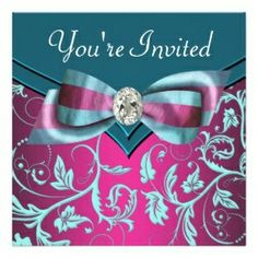 tiffany blue and fuschia wedding | Fuschia Hot Pink Teal Blue All Occasion Party Custom Invitation ...