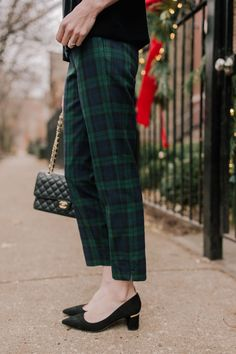 Black watch plaid pants  HELLO, perfection. I've been lusting after black watch plaid pants for years, but could never find the right fit. I'm a big fan of J.Crew's Martie Pant, though, and when I saw this pair, I knew they were destined for my holiday closet. #plaid