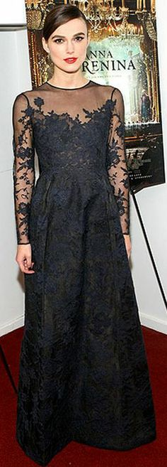 Who made Keira Knightley's gray long sleeve mesh gown that she wore in New York? Dress = Valentino