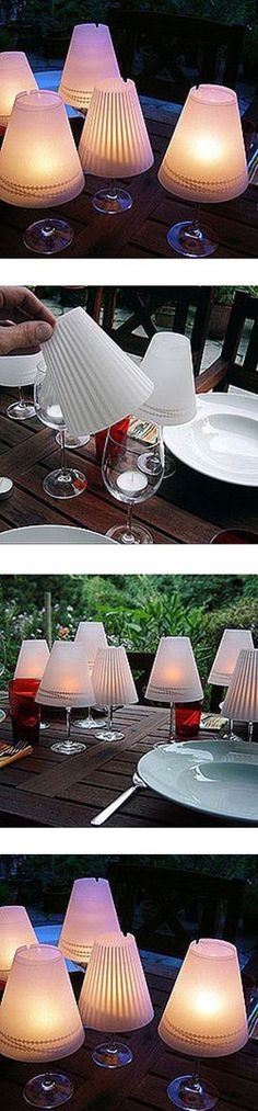 Windlicht aus Weinglas/Gartenparty