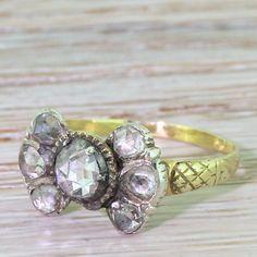 Georgian 1.10 Carat Rose Cut Diamond Seven Stone Ring, circa 1820 by GatsbyJewels on Etsy https://www.etsy.com/listing/293383311/georgian-110-carat-rose-cut-diamond