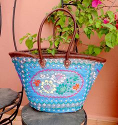 Embroidered Moroccan Basket in blue - Ibiza Beach Bag French market Basket - Picnic Basket - Beach Tote - Leather Handles