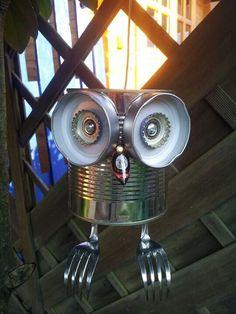 Tin can Tin can-Boite de conserve Boite de conserve Tin can Tin can - Tin Can Crafts, Owl Crafts, Crafts For Kids, Arts And Crafts, Aluminum Can Crafts, Garden Crafts, Garden Projects, Tin Can Art, Junk Art