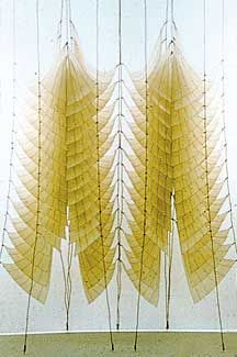 Pat Campbell, Constructed Light wall,  shellaced fabric and wood, 8' x 8' x 2'  1980