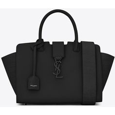 Saint Laurent Baby Monogram Saint Laurent Downtown Cabas Ysl Bag (£1,360) ❤ liked on Polyvore featuring bags, handbags, shoulder bags, monogrammed handbags, genuine leather handbags, leather purses, genuine leather purse and crocodile leather handbags