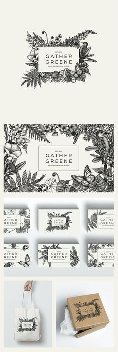 Designs New Event Venue Gather Greene seeks botanically inspired logo design Logo & brand identity pack contest Graphisches Design, Print Design, Cover Design, Floral Design, Print Print, Name Design, Food Design, Layout Design, Corporate Design