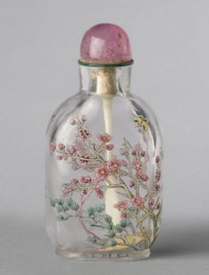 Snuff Bottle and Stopper Flowering Cherry and Pine Trees with Butterfly The Three Friends of Winter Artist/maker unknown, Chinese Qing Dynasty (1644-1911) 1767-1860