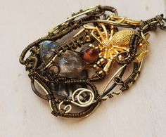 Spider Halloween Jewelry Quartz Crystal Tiger Eye Bead Wire Wrap Tangle Necklace…