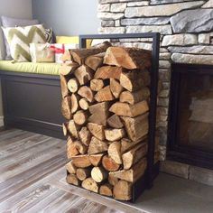 Firewood log rack for home fire place decoration (indoor/outdoor) modern and rustic style (Black) Hand Made in North America Firewood Holder Indoor, Diy Log Store, Firewood Logs, Diy Storage, Storage Ideas, Smart Storage, Kitchen Storage, Storage Solutions, Diy Rangement