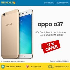 Oppo A37, 4G, Dual Sim Smartphone, 16GB, 2GB RAM, Gold #mobiles #smartphones #online #shopping Mobile Phones Online, 2gb Ram, Dual Sim, Uae, Mobiles, Sims, Online Shopping, Smartphone, Gold