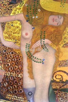 Portrait oil Canvas Gustav Klimt Painting Water Serpents I (Luxury Line) High quality hand painted free shipping