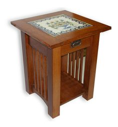 mission style end tables | custom made mission style tile top end table