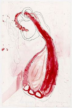 Louise Bourgeois  Le Cœur est là (Turning Inwards II), 2008  gravure, gouache, encre, crayon, papier - 151,1x85,7 cm  Courtesy Galerie Karsten Greve