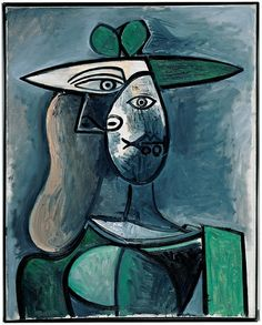 Pablo Picasso - Woman with Green Hat, 1947.  Oil on linen on canvas.