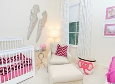 Project Nursery - White and Pink Nursery with Angel Wings - Project Nursery
