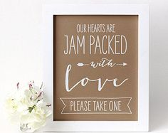 Jam Packed with Love, Wedding Jam Favor Sign, Chalkboard or Rustic Kraft Style [S10]
